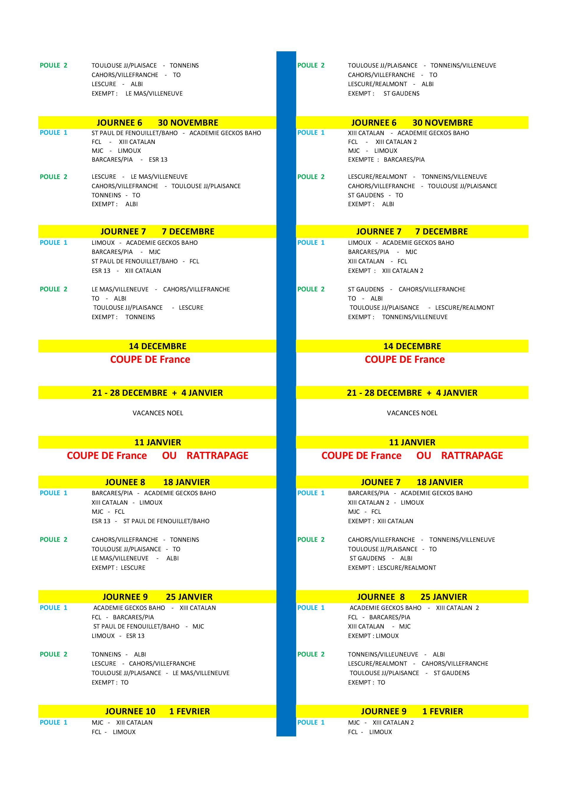 Calendrier Federale 2 2020 2019.Calendriers